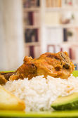 Chicken served with white rice potato on a plate — ストック写真