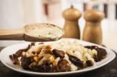 Hominy and toasted corn nuts  mote con chicharron traditional ecuadorian food — Stock Photo
