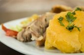 Hornado roasted pork ecuadorian traditional food — Stock Photo