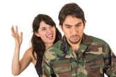 Distraught military soldier veteran ptsd fighting with wife — Stockfoto