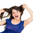 Closeup portrait of beautiful young girl playing with hair — Stock Photo #59192371