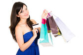 Beautiful young brunette smiling woman shopping holding bags — Stock Photo
