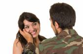 Young military soldier returns to meet his wife girlfriend — Foto de Stock