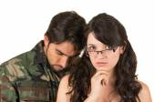 Distraught military soldier veteran ptsd — Stock Photo