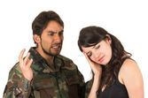 Distraught military soldier veteran ptsd fighting with wife — Stock Photo