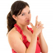 Beautiful young woman gesturing a gun with hands — Stock Photo #61343599