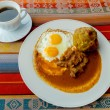 Bolon de verde with fried egg and meat stew ecuadorian food — Stock Photo #62275333