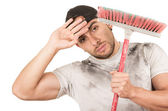 Young muscular latin cleaner — Stock Photo
