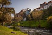 Important city landmark Tomebamba river in Cuenca Ecuador dividing the old colonial town and modern one — Stock Photo
