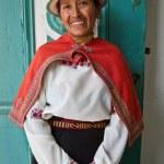 Portrait of beautiful indigenous woman from Guaranda Ecuador wearing traditional clothing — Stock Photo #64654235