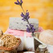 Oils candles soaps stones flower spa concept — Stock Photo #64881221
