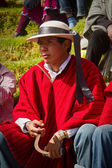 Unidentified indigenous man watching the celebration of Inti Raymi, Inca Festival of the Sun in Ingapirca, Ecuador — Стоковое фото