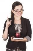 Zoete vrouwelijke leraar houden rode appel — Stockfoto
