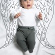 Cute baby boy with angel wings decoration sketch — Stock Photo #70351999