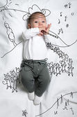 Cute baby boy depicting pied piper decoration sketch — Stock Photo