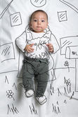 Cute baby boy taking out the garbage decoration sketch — Стоковое фото