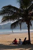 Kimliği belirsiz turist rahatlatıcı huzurlu Beach, Manabi, Ekvator bir palmiye ağacının altında — Stok fotoğraf