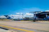 Lineas aereas suramericanas airplanes line up and hangar at international airport El Dorado Bogota Colombia — Stock Photo
