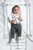 Cute baby boy decorated as Abraham Lincoln — Stock Photo