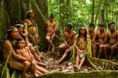 Huaorani tribe in the amazon rainforest, Yasuni National Park, Ecuador — Stock Photo