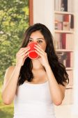 Early morning model coffee — Stock Photo