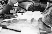 Tattoo artist table — Stock Photo