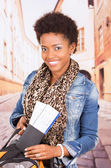 Black woman travelling — Stock Photo
