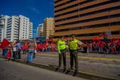 Two ecuadorian policemen wearing uniforms supervising protesters marching in the capital city Quito against government of president Rafael Correa — Stock Photo