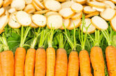 Line of organic carrots beautiful orange and green colors with some croutons behind — Stock Photo