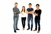 Group of a people on a white background — Stock Photo