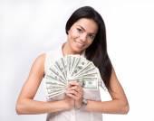 Happy woman holding US dollar bills — Stock Photo