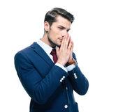 Portrait of a handsome pensive businessman — Stock Photo