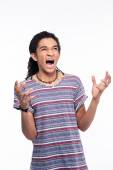 Angry afro american man shouting — Stock Photo