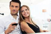 Couple sitting in restaurant — Stock Photo