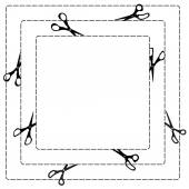Square frame with scissor, dot line and cut paper design. — 图库矢量图片