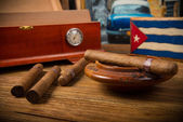 Cigars and humidor — Stock Photo