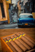 Sigaren en humidor — Stockfoto