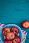 Farm fresh organic red autumn apples on wooden retro blue table  — Stock Photo