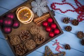 Retro wooden box with Christmas decorations — Stock Photo