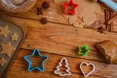 Table view on making christmas cookies  — Stockfoto