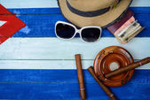 Cuban cigars and ash tray on flag — Stock Photo