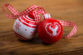 Christmas vintage ornament on wood background — Stock Photo