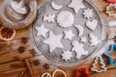 Festive cookies decorated on rustic table — Stock Photo