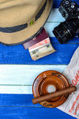 Cuban national items on flag background — Stok fotoğraf
