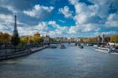 View over river Seine on Alexander III bridge and Eiffel Tower i — Stock Photo