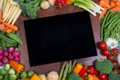 Vegetable with chalk board — Stock Photo