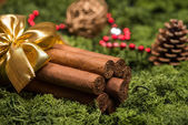 Cuban cigars Christmas gift with golden ribbon and ornaments — Stock Photo