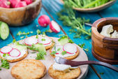 Healthy snacks,crackers with cottage cheese and fresh vegetables — Stock Photo