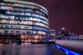 London modern finance district in downtown iluminated at night. — Stock Photo