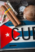 Travel to Cuba concept of holiday related items — Stock Photo